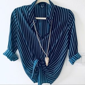 NWOT Atmosphere Primark Navy Striped Button Down